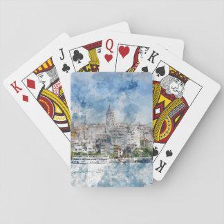 De Toren van Galata in Istanboel Turkije Speelkaarten