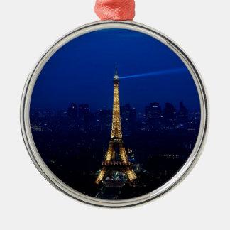 De Toren van Parijs Eifel bij Nacht Zilverkleurig Rond Ornament
