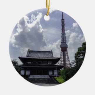 De Toren van Tokyo Rond Keramisch Ornament