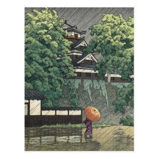 De Toren van Udo, Kasteel Kumamoto in Regen - Briefkaart