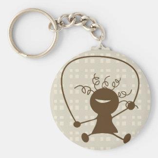 De Touwtjespringen Keychain van het meisje Sleutelhanger