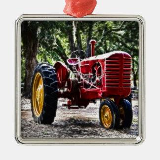 De Tractor van Fractalius Zilverkleurig Vierkant Ornament