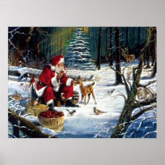 De traditionele Kerstman van Kerstmis in het Park Poster