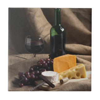 De Treeft van de Tegel van de wijn en van de Kaas Keramisch Tegeltje