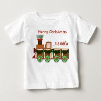 De Trein van Choo Choo van Kerstmis met Gestreept Baby T Shirts