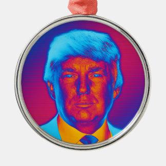 De Troef van het President van het pop-art Zilverkleurig Rond Ornament