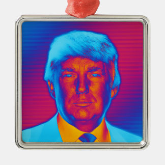 De Troef van het President van het pop-art Zilverkleurig Vierkant Ornament
