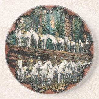 De Troep van de cavalerie op het Vintage Zandsteen Onderzetter