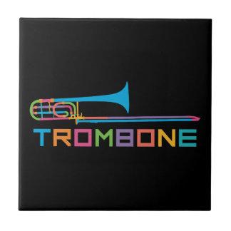 De Trombone van de Kleur van de regenboog Keramisch Tegeltje