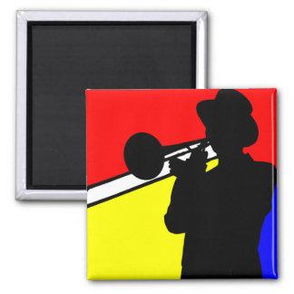 De trombonespeler van het silhouet, mondrian magneet