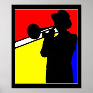De trombonespeler van het silhouet, mondrian poster