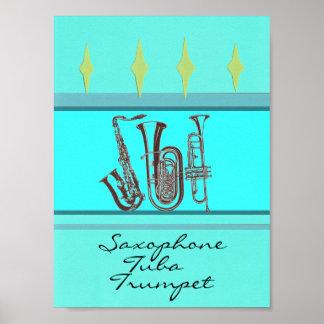 De Trompet van de Tuba van de saxofoon Poster