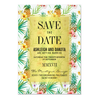 De tropische Ananas & de Hibiscus bewaren de Datum 8,9x12,7 Uitnodiging Kaart