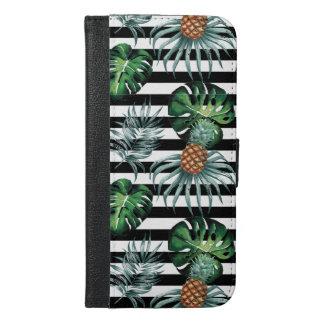 De tropische ananas van de waterverf met zwarte iPhone 6/6s plus portemonnee hoesje