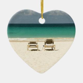 De tropische Dominicaanse Republiek van het Strand Keramisch Hart Ornament