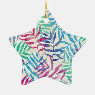 De Tropische Palmbladen van de waterverf Keramisch Ster Ornament