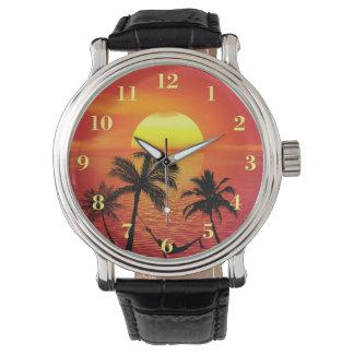 De tropische Palmen van de Zonsondergang van de Polshorloge