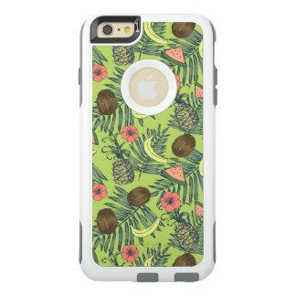 De tropische Schets van het Fruit op Groen Patroon OtterBox iPhone 6/6s Plus Hoesje
