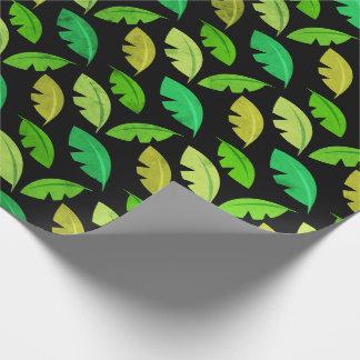 De tropische zomer doorbladert de zwarte smaragd cadeaupapier