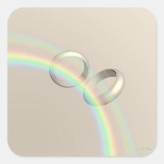 De Trouwringen van de regenboog Vierkante Sticker