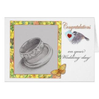 de trouwringenvogeltje van huwelijksgelukwensen wenskaart