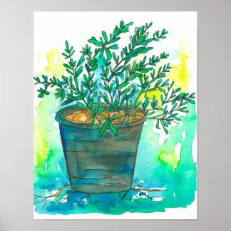 De Tuin Rosemary van het kruid Poster