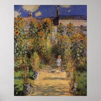 De tuin van de Kunstenaar in Vetheuil door Claude Poster