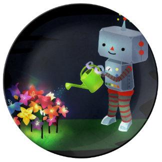 De tuin van de Robot Porselein Bord