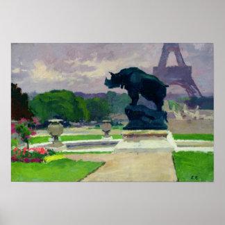 De Tuinen en de Rinoceros van Trocadero door Jacqu Poster