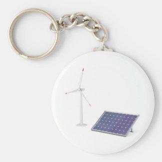 De turbine van de wind en zonnepaneel sleutelhanger