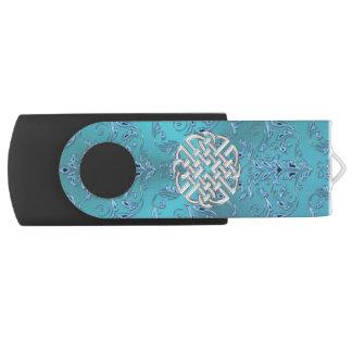 De turkooise Keltische Knoop van het Damast Swivel USB 2.0 Stick