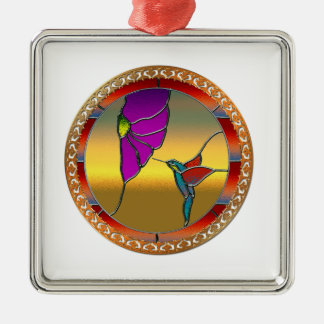 De Turkooise Kolibrie van het Venster van het Zilverkleurig Vierkant Ornament