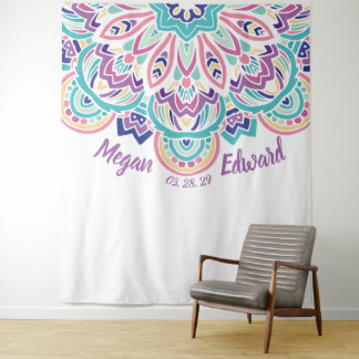 De turkooise & Paarse Moderne BloemenAchtergrond Wandkleed