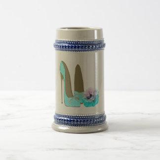 De turkooise Schoenen van de Stiletto van het Kant Bierpul