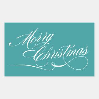 De turkooise Witte Stickers van Kerstmis van het