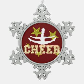 De turner van Cheerleader Tin Sneeuwvlok Ornament
