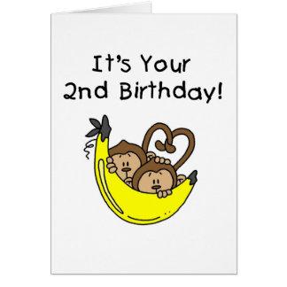 De tweeling 2de Verjaardag van de Apen van de Briefkaarten 0