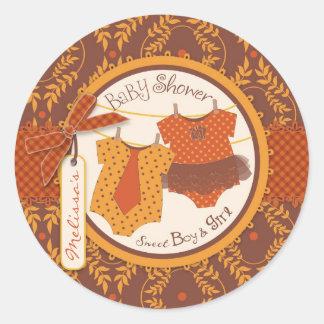 De Tweelingen van het Baby shower van het Damast Ronde Stickers