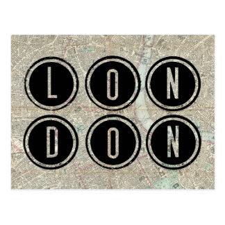 De Typografie van de Kaart van Londen Briefkaart