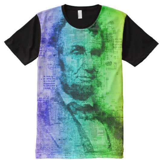 De Typografie van de Regenboog van Abraham Lincoln All-Over-Print T-shirt