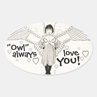 De UIL houdt van u altijd de Vintage Illustratie Ovale Sticker