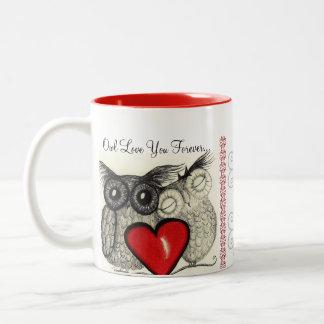 De uil houdt van u altijd tweekleurige koffiemok