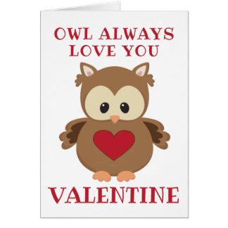 De uil houdt van u, altijd Valentijn Kaart