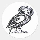 De Uil van Athena Ronde Stickers