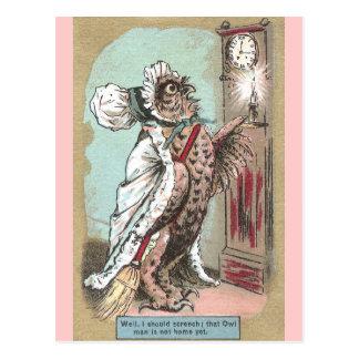 De Uil van de doordringende kreet wacht op Recent Briefkaart