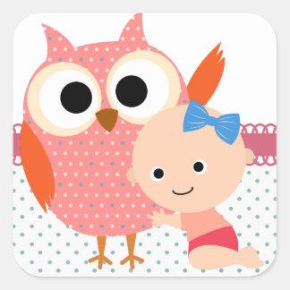 De Uil van het Baby shower van de Vierkante Stickers