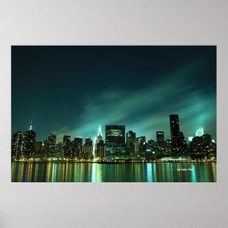 De uit het stadscentrum horizon van Manhattan bij  Poster
