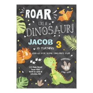 De uitnodiging Dino Party Boy van de verjaardag
