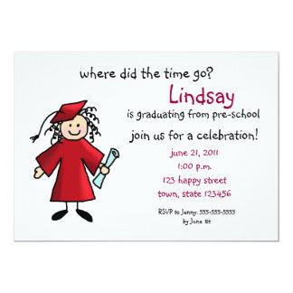 De Uitnodiging van afstuderen--Rood meisje,
