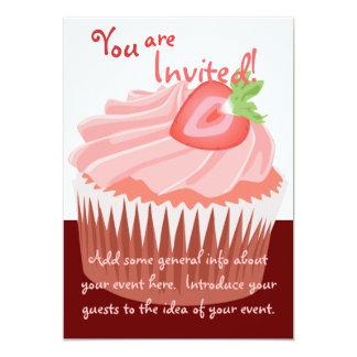 De Uitnodiging van Cupcake van de aardbei